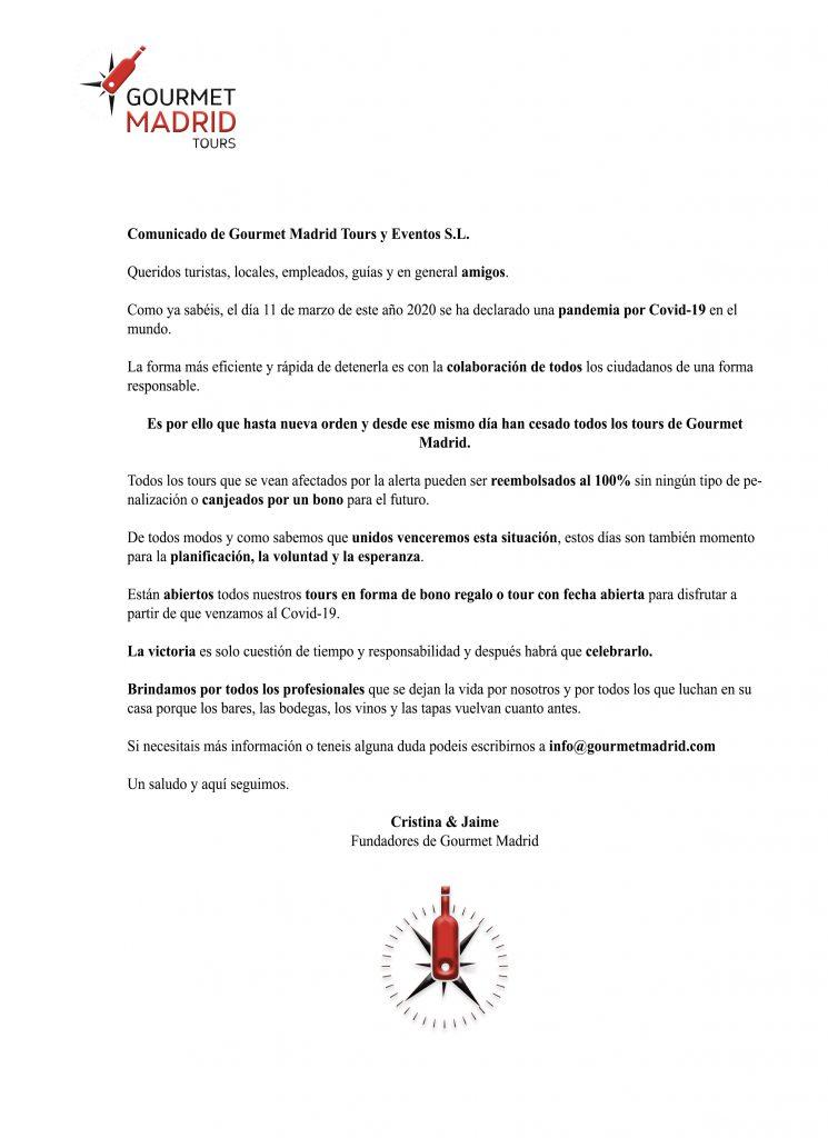 Covid 19 gourmet madrid tours